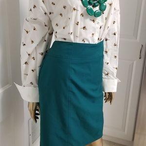 Teal Worthington Shift Skirt with Back Pockets